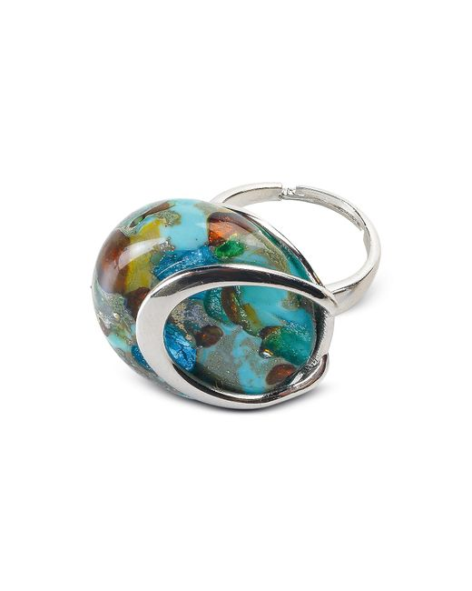 Antica Murrina | Byzantium - Light Green Murano Glass Ring W/silver Leaf | Lyst