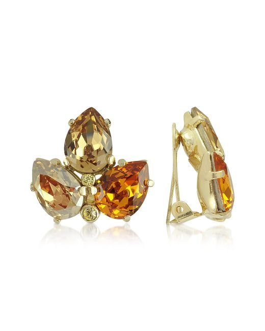AZ Collection | Metallic Amber Crystal Clip-on Earrings | Lyst