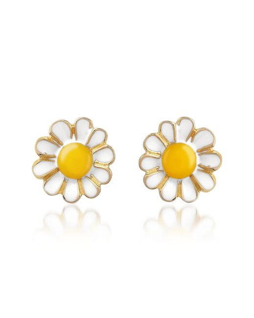 AZ Collection | Yellow Garden Line - Daisy Enamel Earrings | Lyst