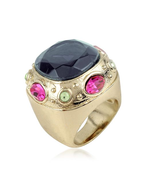 AZ Collection | Metallic Large Crystal Stone Ring | Lyst
