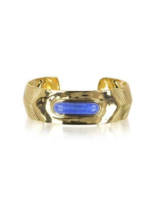 Aurelie Bidermann | Metallic Peggy 18k Gold-plated Bangle W/lapis Lazuli Stone | Lyst