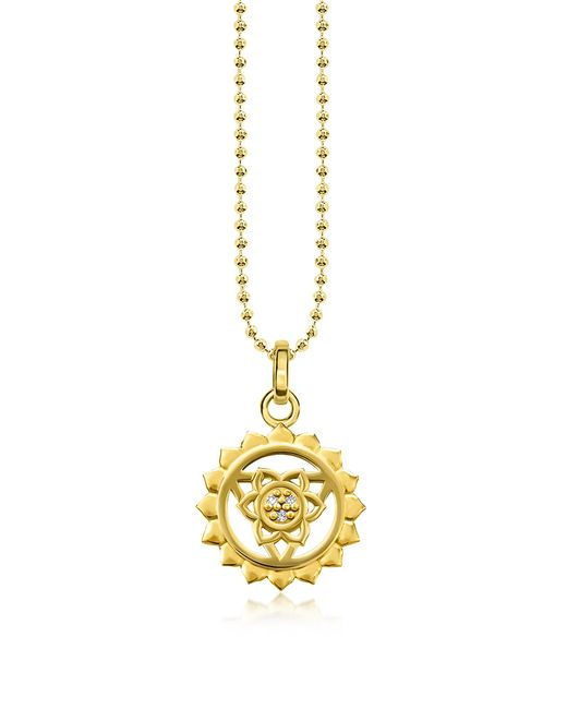 Thomas Sabo - Metallic Throat Chakra Yellow Gold Plated Sterling Silver Necklace W/white Zirconia - Lyst