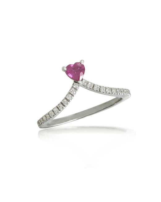 Forzieri - Red Ruby Heart V-shaped Diamonds Band Ring - Lyst