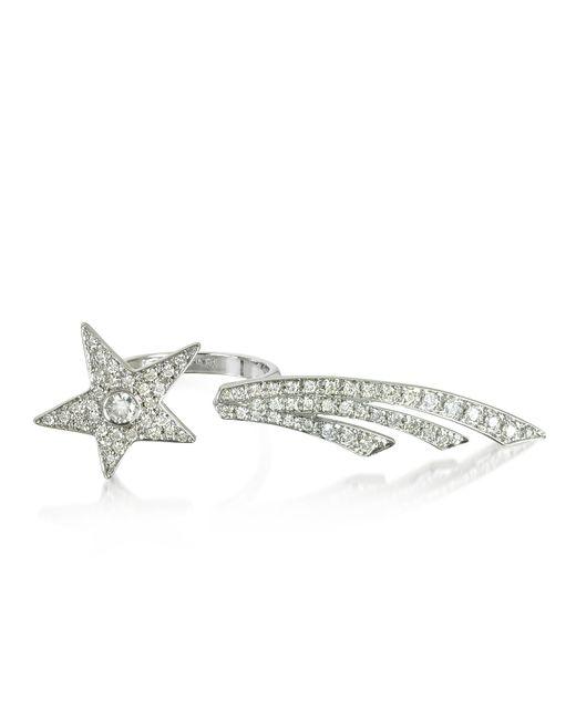 Bernard Delettrez - Two Fingers Shooting Star 9k White Gold Ring W/diamonds - Lyst