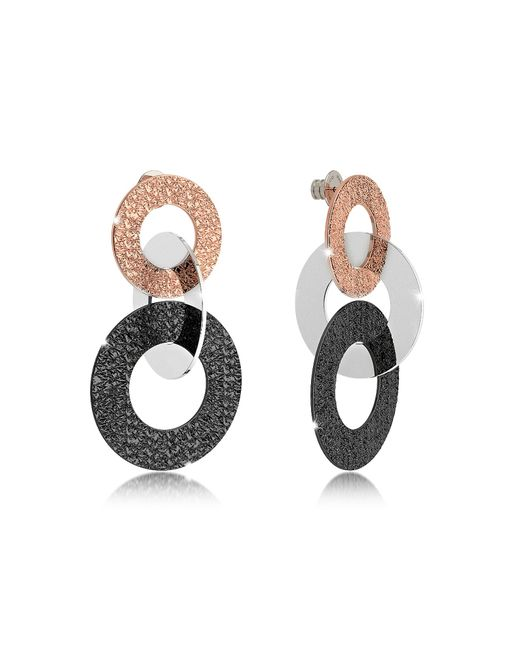 Rebecca - Metallic R-zero Black Rhodium And Rose Gold Over Bronze Stud Drop Earrings - Lyst