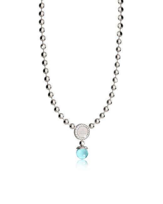 Rebecca - Metallic Boulevard Stone Rhodium Over Bronze Necklace W/hydrothermal Turquoise Stones - Lyst