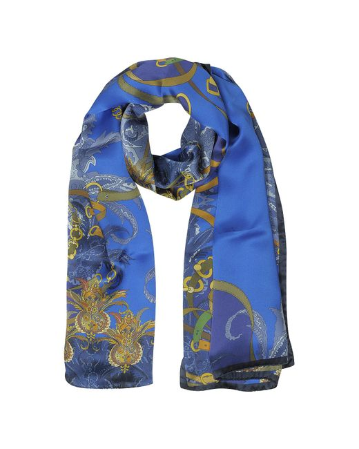 Mila Schon - Blue Ornamental And Pattern Printed Satin Silk Stole - Lyst