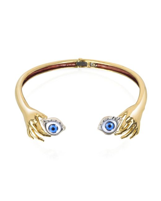 Bernard Delettrez | Blue Brass Hand Necklace With Eye | Lyst