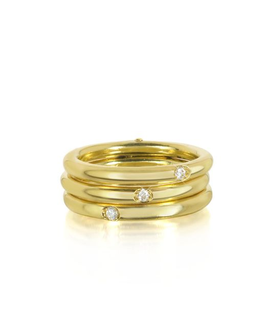 Bernard Delettrez | Metallic 18k Gold Triple Secret Ring W/diamonds | Lyst