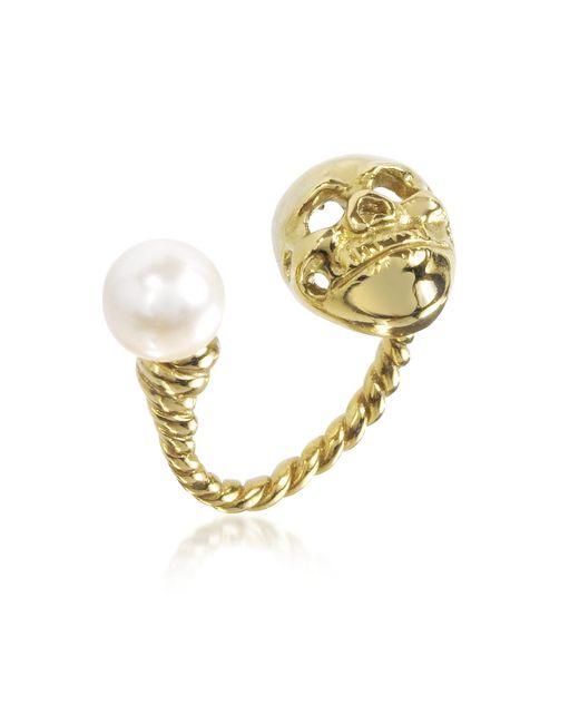Bernard Delettrez | Metallic Bronze Skull Ring W/pearl | Lyst