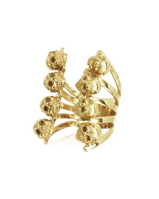 Bernard Delettrez | Metallic Golden Skulls Bronze Ring | Lyst
