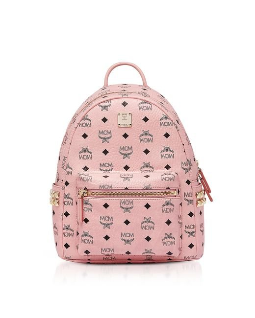 MCM - Pink Stark Side Studs Backpack In Visetos - Lyst