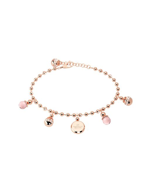 Rebecca - Boulevard Stone Rose Gold Over Bronze Bracelet W/hydrothermal Pink Stones - Lyst