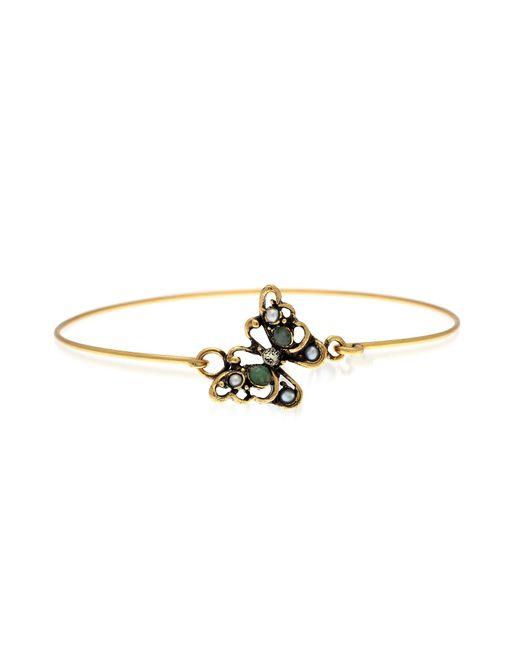 Alcozer & J | Metallic Butterfly Goldtone Brass Bangle W/glass Pearls | Lyst
