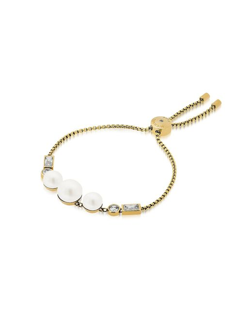 Michael Kors - Metallic Brilliance Goldtone Bracelet W/crystals And White Pearls - Lyst