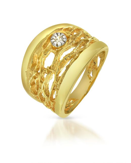 Orlando Orlandini - Metallic Diamond Open-work 18k Yellow Gold Band Ring - Lyst