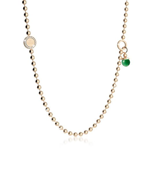 Rebecca - Green Boulevard Stone Yellow Gold Over Bronze Necklace W/double Charms - Lyst