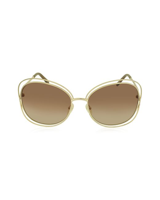 Chloé - Metallic Carlina Ce 119s 786 Gold Metal Square Women's Sunglasses - Lyst
