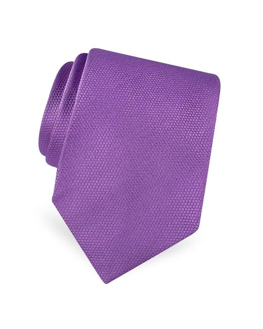 Forzieri - Purple Gold Line Solid Woven Silk Tie for Men - Lyst