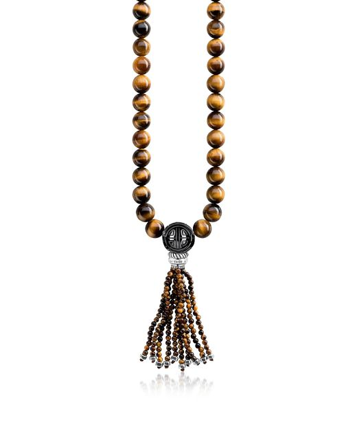 Thomas Sabo - Yellow Power Blackened Sterling Silver Necklace W/tiger Eye And Obsidian Polished Beads & Tassel - Lyst