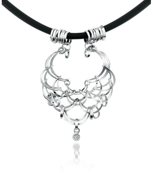Orlando Orlandini - Metallic Scintille - Diamond Drop 18k White Gold Net Necklace - Lyst
