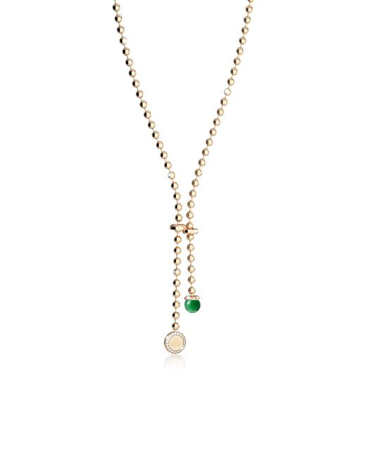 Rebecca | Boulevard Stone Yellow Gold Over Bronze Necklace W/hydrothermal Green Stone And Pendand Charm | Lyst