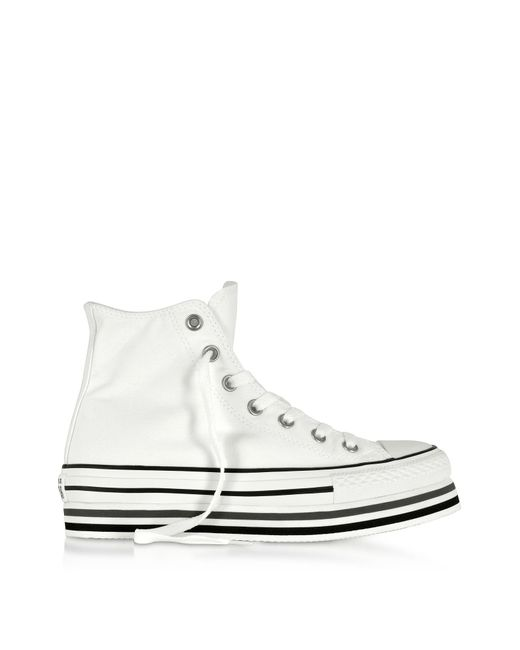 d296831afc98 Converse - Black Chuck Taylor All Star Platform Layer White Sneakers - Lyst