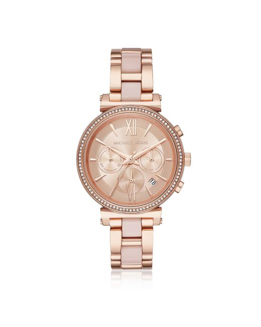 Michael Kors - Pink Sofie Rose Gold-tone And Acetate Women's Watch - Lyst