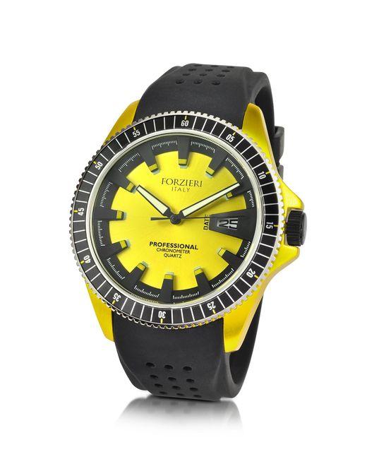 Forzieri - Yellow Aluminum Case Watch W/rubber Strap for Men - Lyst
