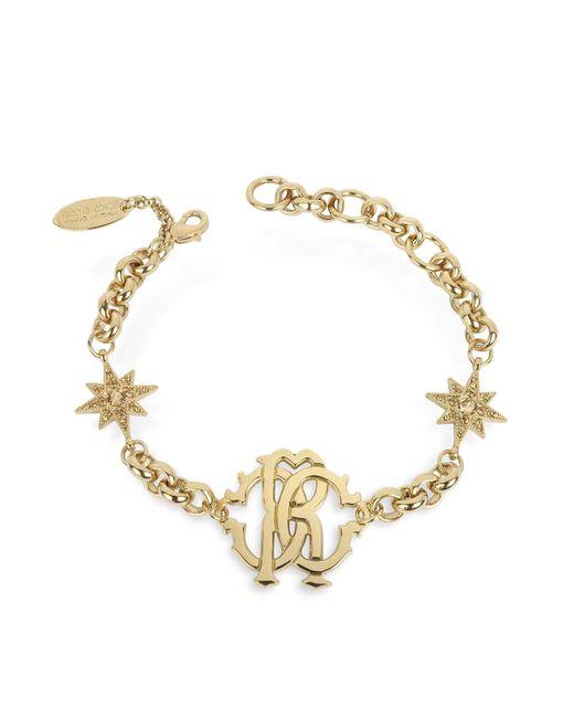 Roberto Cavalli - Metallic Rc Icon Golden Metal Bracelet W/stars - Lyst