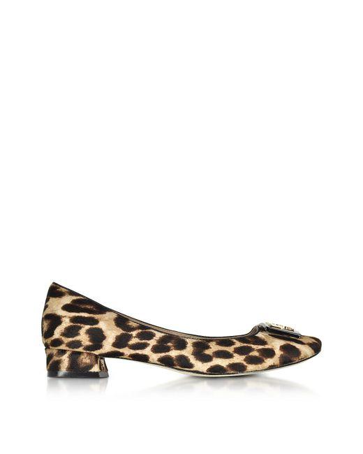Tory Burch | Brown Gigi Natural Leopard Print Leather Mid-heel Pumps | Lyst