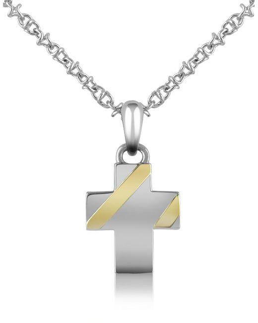 Forzieri | Metallic Stainless Steel Cross Pendant Necklace | Lyst