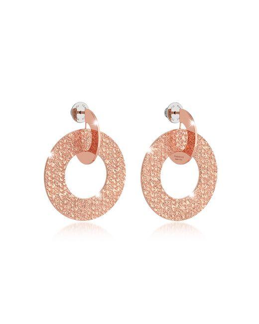Rebecca - Pink R-zero Rose Gold Over Bronze Drop Hoop Earrings - Lyst
