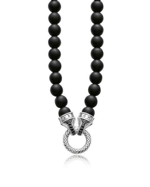 Thomas Sabo - Blackened Sterling Silver And Obsidian Beads Men's Necklace W/black Zirconia for Men - Lyst