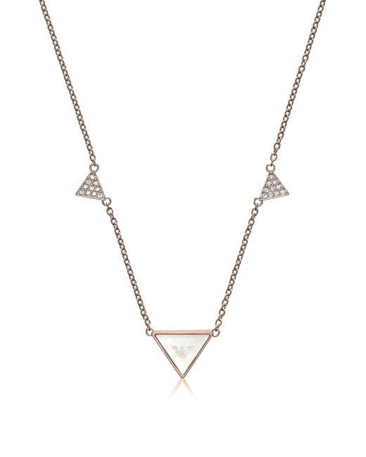 Emporio Armani | Pink Signature Rose Goldtone Triangle Necklace | Lyst