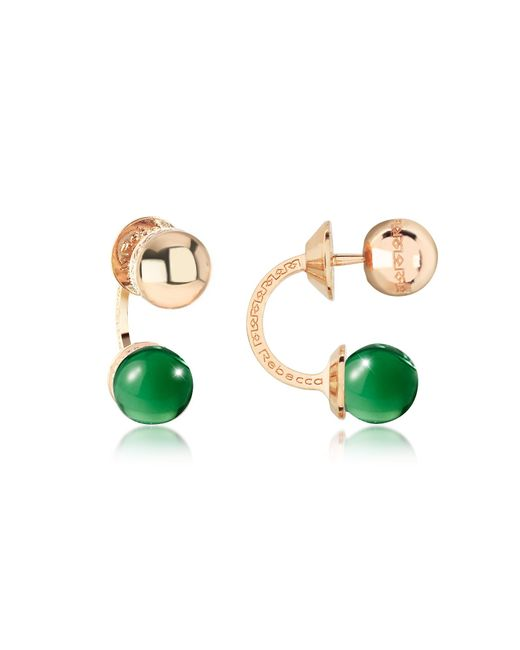 Rebecca - Boulevard Stone Yellow Gold Over Bronze Double Ball Drop Earrings W/green Hydrothermal Stone - Lyst