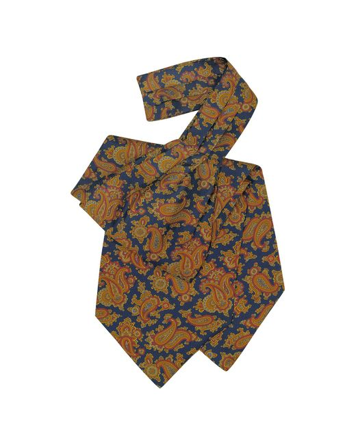 Forzieri - Blue Large Paisley Print Silk Ascot for Men - Lyst