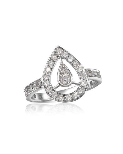 Forzieri - White 0.65 Ct Diamond Drop 18k Gold Ring - Lyst