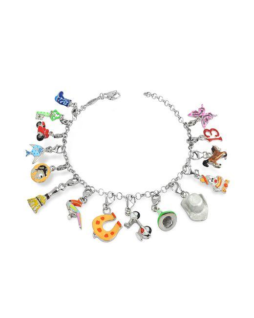 Tedora | Metallic Sterling Silver Multicolor Charm Bracelet | Lyst