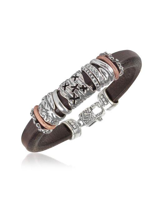 Tedora | Metallic Silver Band Leather Bracelet for Men | Lyst