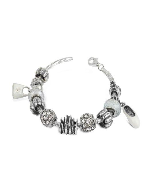 Tedora - Metallic Sterling Silver Milan Charm Bracelet - Lyst