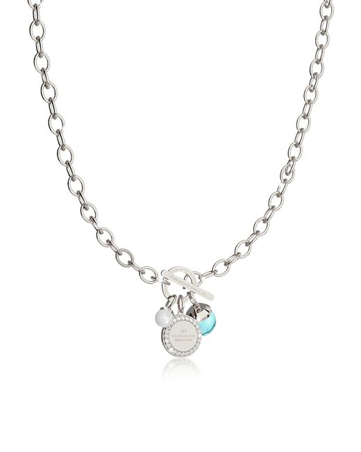Rebecca - Metallic Hollywood Stone Rhodium Over Bronze Chain Necklace W/hydrothermal Turquoise Stone And Glass Pearl - Lyst