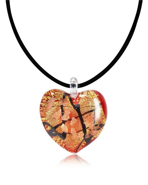 Antica Murrina - Passione - Red Gold And Black Murano Glass Heart Pendant - Lyst