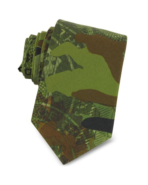 Givenchy - Green Corbata Estrecha de Algodón Camuflaje for Men - Lyst