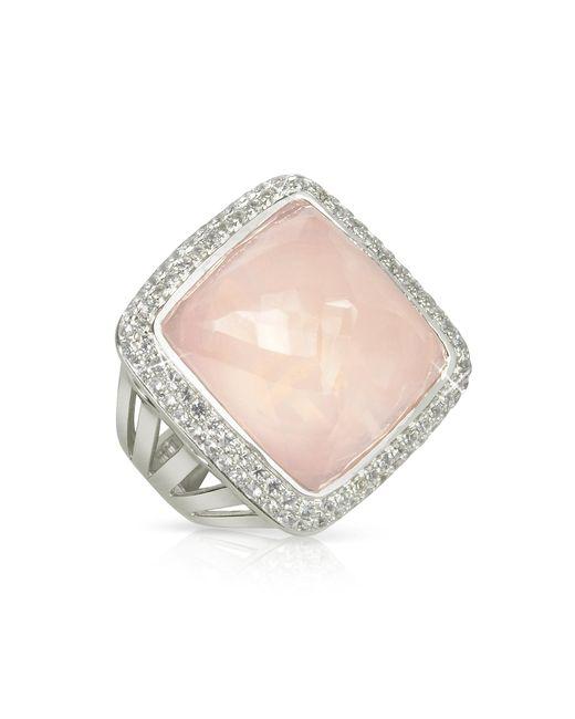 Sho London - Pink 18k Gold V-seal Rose Quartz Victoria Ring - Lyst