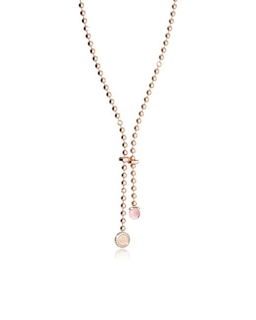 Rebecca - Boulevard Stone Rose Gold Over Bronze Necklace W/hydrothermal Pink Stone And Pendand Charm - Lyst