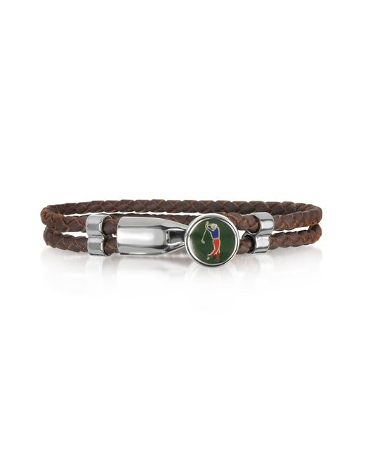 Forzieri - Green Golfer Metal And Leather Men's Bracelet for Men - Lyst
