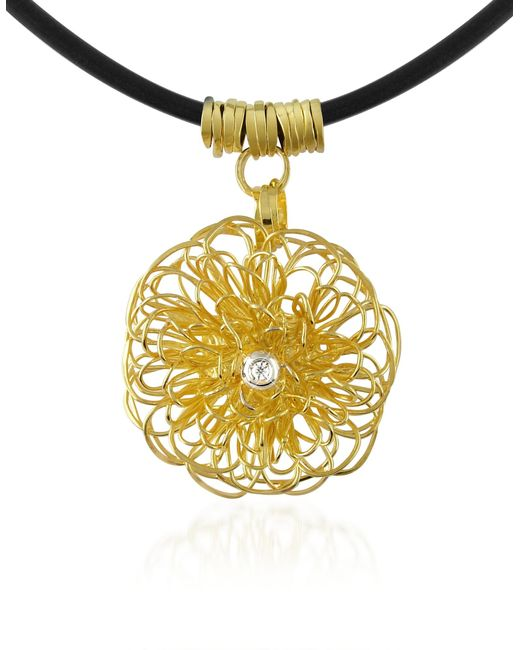 Orlando Orlandini - Metallic Central Diamond 18k Yellow Gold Pendant Necklace - Lyst