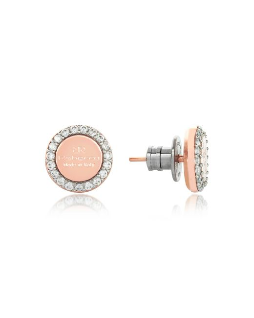 Rebecca - Pink Boulevard Stone Rose Gold Over Bronze Stud Earrings W/stones - Lyst