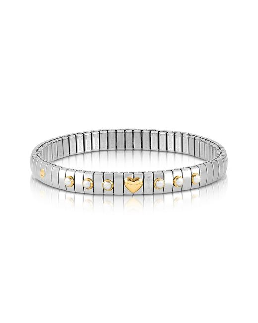 Nomination - Metallic Stainless Steel Women's Bracelet W/white Pearls And Golden Beads - Lyst